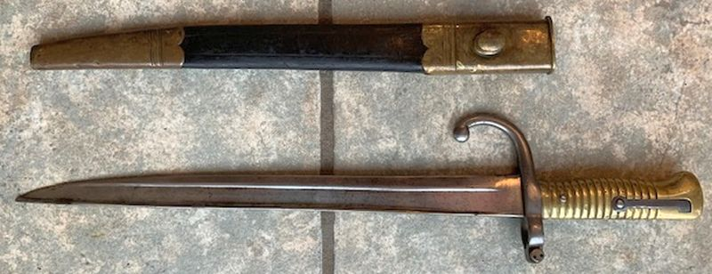 Unknown Era Vintage Type C Rifle Bayonet With Canvas Hooked Sheaths
